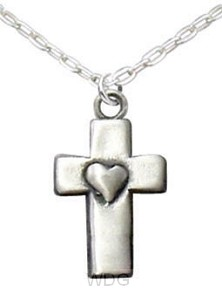 Cross with heart - Silvertone necklace