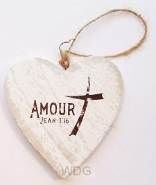 Amour (Coeur en bois - 9,5 cm)