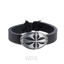 Leather bracelet round cutout cross