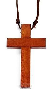 Kruis hout 2.5cm aan leren koord