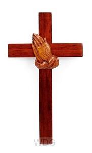 Kruis hang 20cm m bidd handen mahoniehou