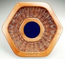 Collectemand 6 hoekig houten rand blauw