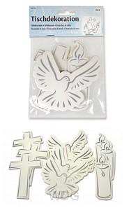 Decoratie kruis duif kaars set24