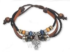 Armband leder met kruis zilver tur
