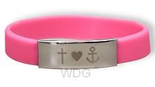 Armband siliconen roze geloof hoop lief