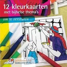 12 kleurkaarten met bijbelse thema's