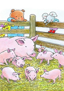 Ansichtkaart 15x10,5 bobbi bij varkens