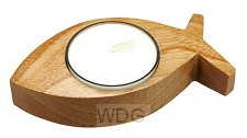 Waxinelichthouder vis hout 9.5cm
