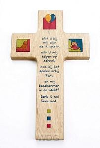 Kruis hout 15cm kinder wilt u bij mij zi