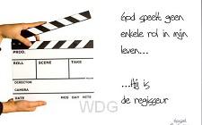 Prentbriefkaart God speelt geen enkele r