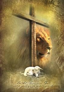 Poster A3 kruis leeuw en lam