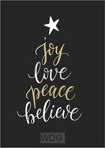 Kaart kerst Joy love peace believe