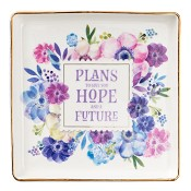 Plans to give you hope - 114 x 114mm : Trinket tray - Glass