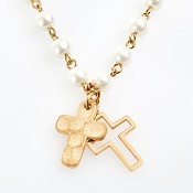 Double cross - Glass pearls : Necklace - Gold plated