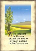 Christelijke poster : Poster a4 landschap psalm 145:2
