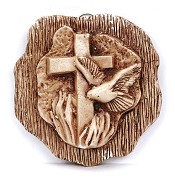 2 : Wandbord kruis en druif [ 2 stuks ] : Christelijk wandbord
