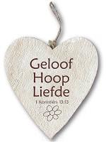 Houten hart Geloof Hoop Liefde : Christelijk Hart 15cm