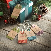 Set of 16 tags - 4 each of 4 designs : Christmas Gift Tags