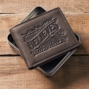 Whoever believes - Embossed : Genuine Leather Wallet in tin
