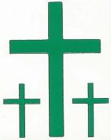 Stickervel : Stickervel kruis groen 3 x 9 cm 6 x 3.5
