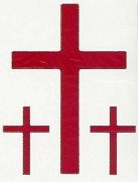 Stickervel : Stickervel kruis rood 3 x 9 cm 6 x 3.5cm