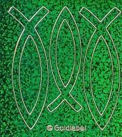 Ichtus Vis sticker : Sticker vis 2x8.5cm en 1x7.5cm groenglit