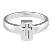 Rectangled cross -Size 9 (19mm) : Ring - Ladies - Silver plated