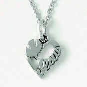 Heart with dove and Jesus : Necklace - Rhodium plated