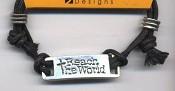 Reach The World - Leadfree pewter tag : Adjustable cord bracelet