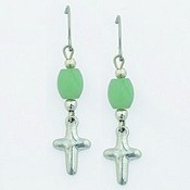 Puffy cross with beads : Earrings - Surgical steel wire