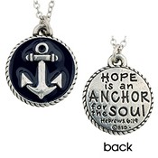 Round pendant with anchor : Necklace - 45 cm