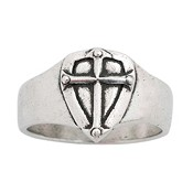 Shield with cross - Small : Ring - Mens