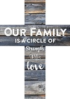 Our family is a circle of strength : Wooden wall cross - 12,5 x 17,5 cm