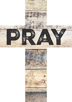 Pray : Wooden wall cross - 12,5 x 17,5 cm