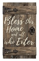 Bless this home and all who enter : Wall decor - Barn door - 35,5 x 61 cm