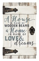 A house is made of wooden beams : Wall decor - Barn door - 35,5 x 61 cm