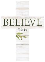 Believe : Wooden wall cross - 12,5 x 17,5 cm