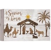 A saviour is born [ 2 stuks ] : Christmas wall decor - 25,5 x 17,5 cm