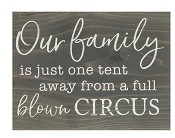 Our family is just one tent away : Tabletop block - 140 x 184 x 38 mm