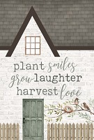 Plant smiles, grow laughter,harvest love : Tabletop house - 13,5 x 20,5 cm