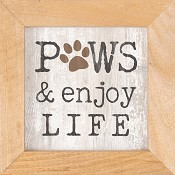 Paws and enjoy life - Framed : Wall decor - 12,5 x 12,5 cm