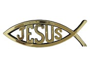 Fish with Jesus : Car emblem - Gold colored