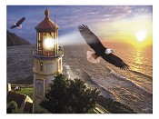 Eagle with lighthouse : Puzzle - 1000 pieces