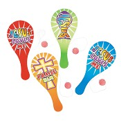 Paddleball sets with christian quote [ 4 stuks ] : Paddleball - assorted colors