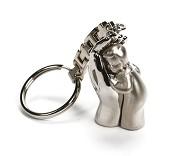 Sleutelhanger kind in hand zilverkleur