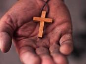 Ketting kruis : Houten kruis aan koord : Christelijke Ketting