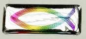 Ichtus Vis sticker : Sticker 3d vis meerkleurig [ 2 stuks ]