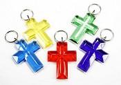Christelijke sleutelhanger : Sleutelhanger kruis 65mm [ 4 stuks ]